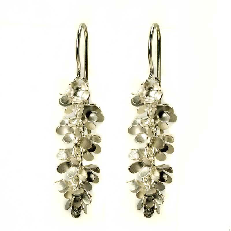 Silver Flower Earrings in a cluster