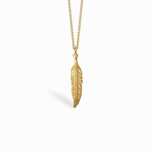 Gold Plated Silver Boho Necklace with Feather