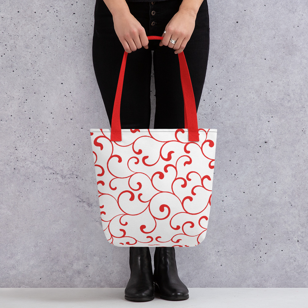 Red Tote Bag with Red Handles Red Swirl Tote Bag Yazzy's Fashion Accessories