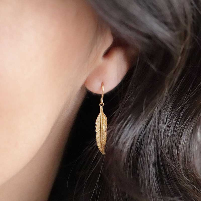 Silver gold plated feathers ls Zilveren Boho Oorbellen Yazzy's Fashion Accessories