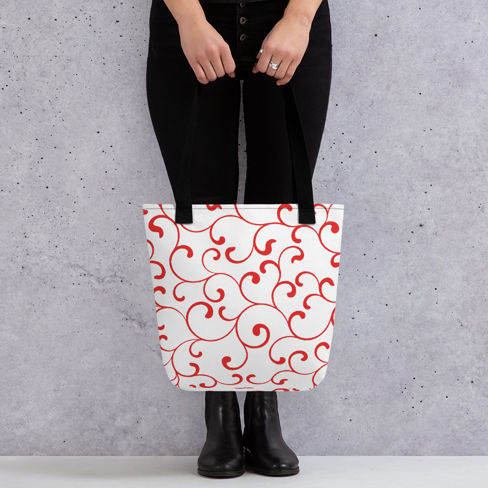Tote Bag Red with black handles