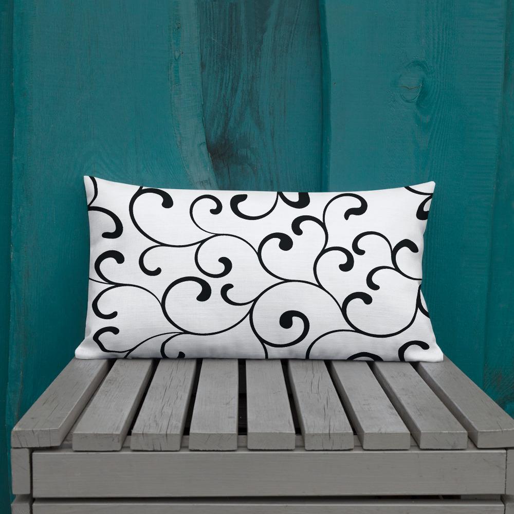black and white minimalistic cushions Swirl Premium Sierkussens Yazzy's Fashion Accessories