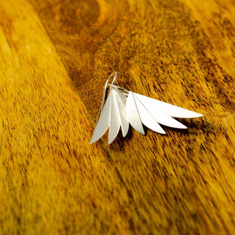 fan earrings sterling silver with mat fisnish