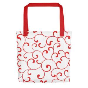Tote Handtasche Rot Swirl Tragetasche