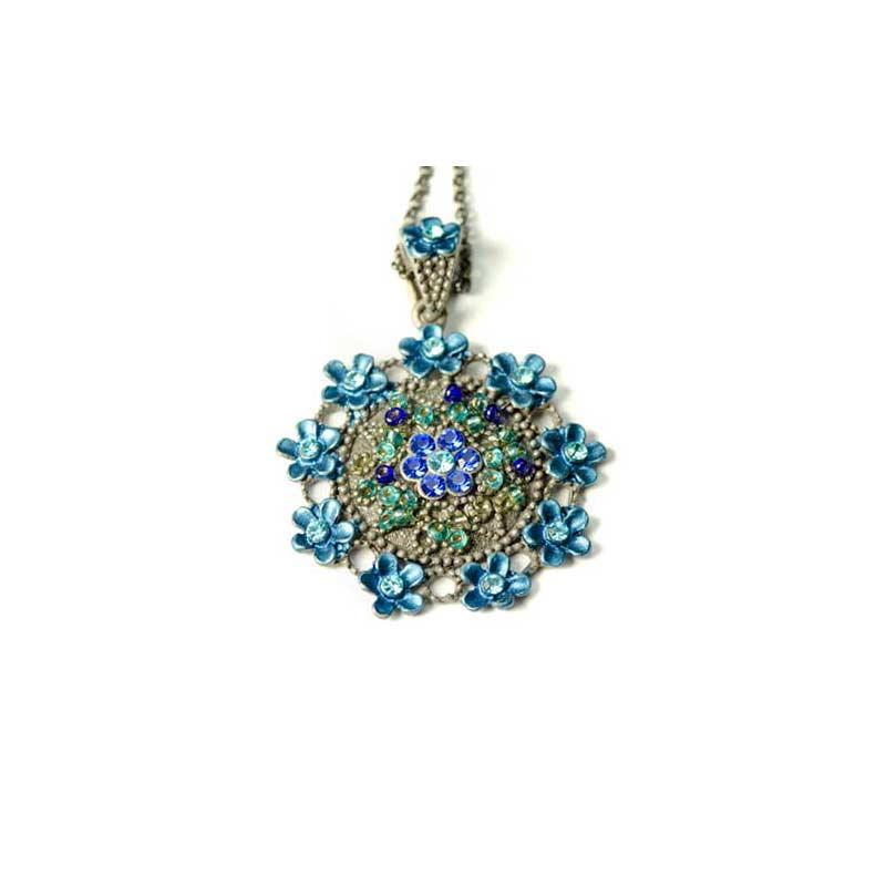Collier médaillon bleu