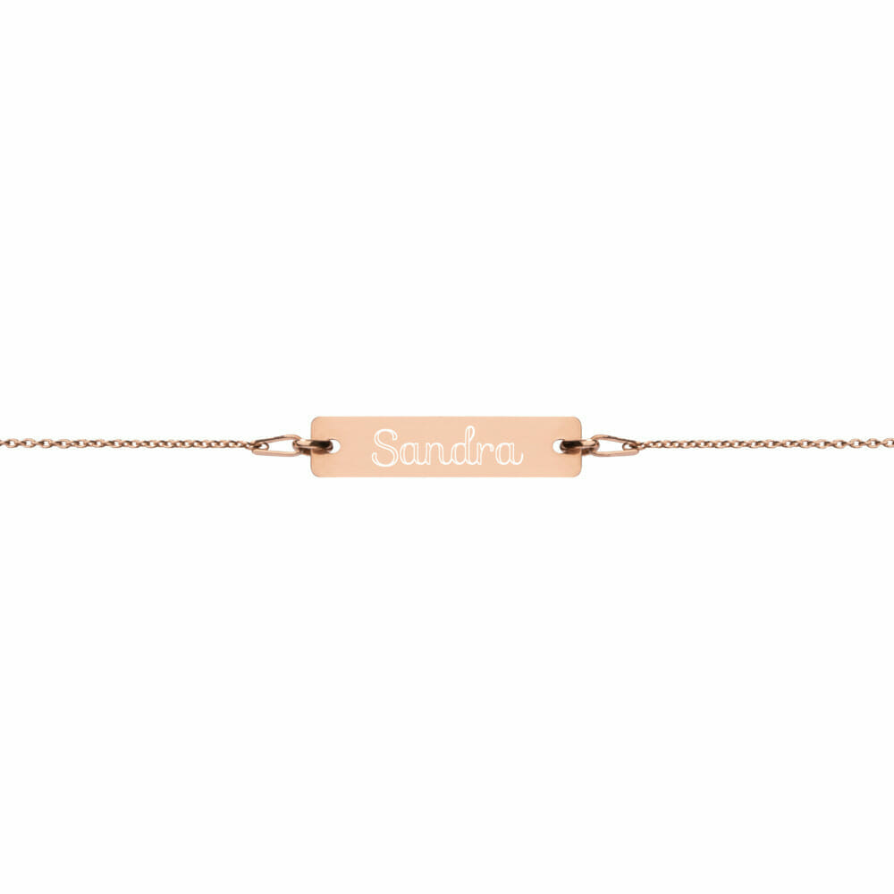 engraved silver bar chain bracelet 18k rose gold coating default 61290a23ad0b9 Silver Bracelet Bar Engraved Great Gift .925 Silver Yazzy's Fashion Accessories