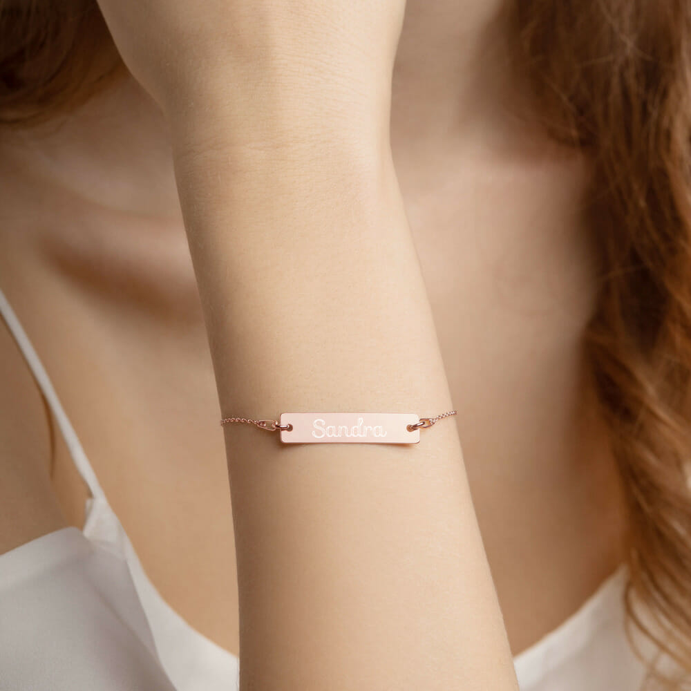 engraved silver bar chain bracelet 18k rose gold coating women 61290a23acdb2 Silver Bracelet Bar Engraved Great Gift .925 Silver Yazzy's Fashion Accessories