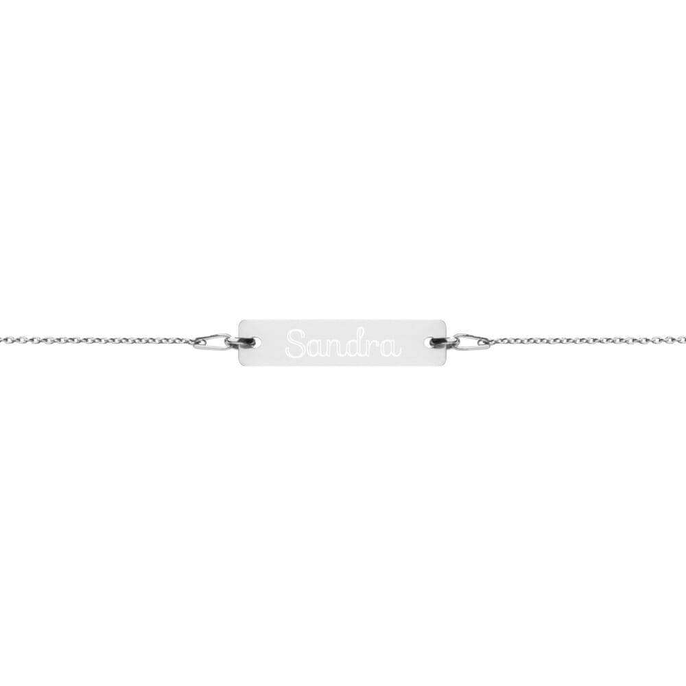 Silver Bracelet Bar Engraved