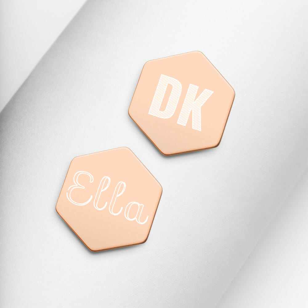 sterling silver hexagon stud earrings 18k rose gold both 6129041e0c1df Silberne Ohrringe Hexagon Gravur Yazzy's Fashion Accessories