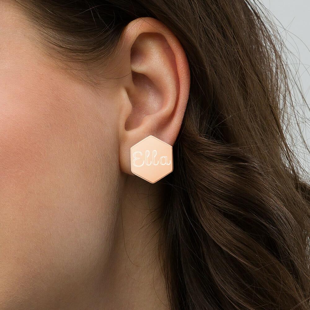 Gravur Ohrsringe Hexagon Sterling silber