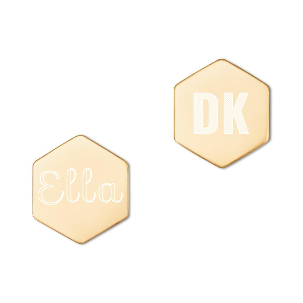 Silberne Ohrringe Hexagon Gravur Buchstaben